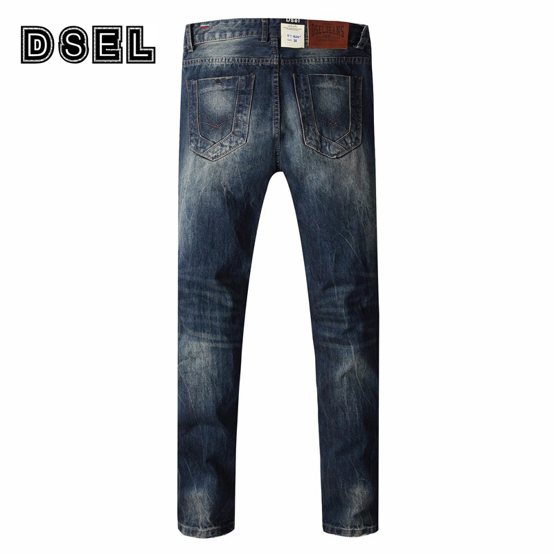 DSEL Brand Men Jeans High Quality Vintage Distressed Pants Dark Color Straight Fit Ripped Jeans Men Casual Leisure Trousers
