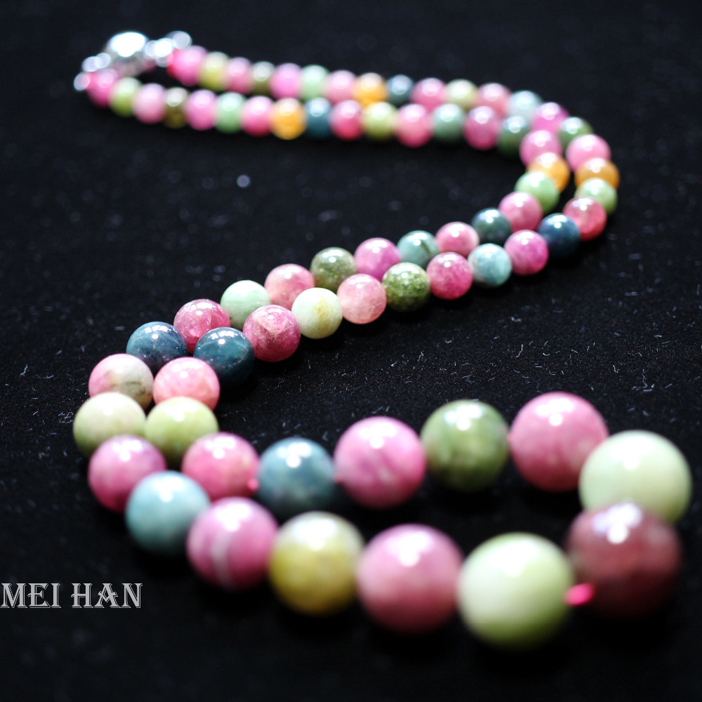 Meihan Free shipping 48cm 43g set natural lovely candy tourmaline necklace 4 11mm round loose beads