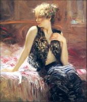 Lace Camisole Oil Painting Impression Figure Pino Daeni Wall Painting Printed Art Painting Reproduction On Cavas