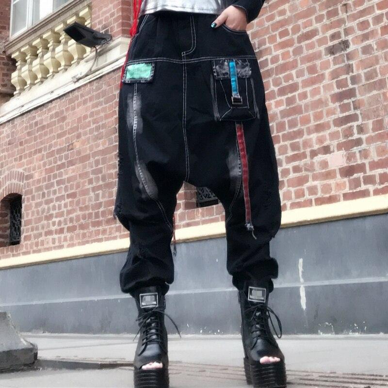 Hala личность повесить женские брюки с рисунком «большие Hala штаны шаровары в стиле «хип хоп Для женщин большой хип Mi штаны Для женщин женские брюки карго