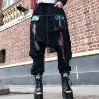 hala Personality hang pants trousers female jeans big hala hip hop harem pants women big hip mi pant women