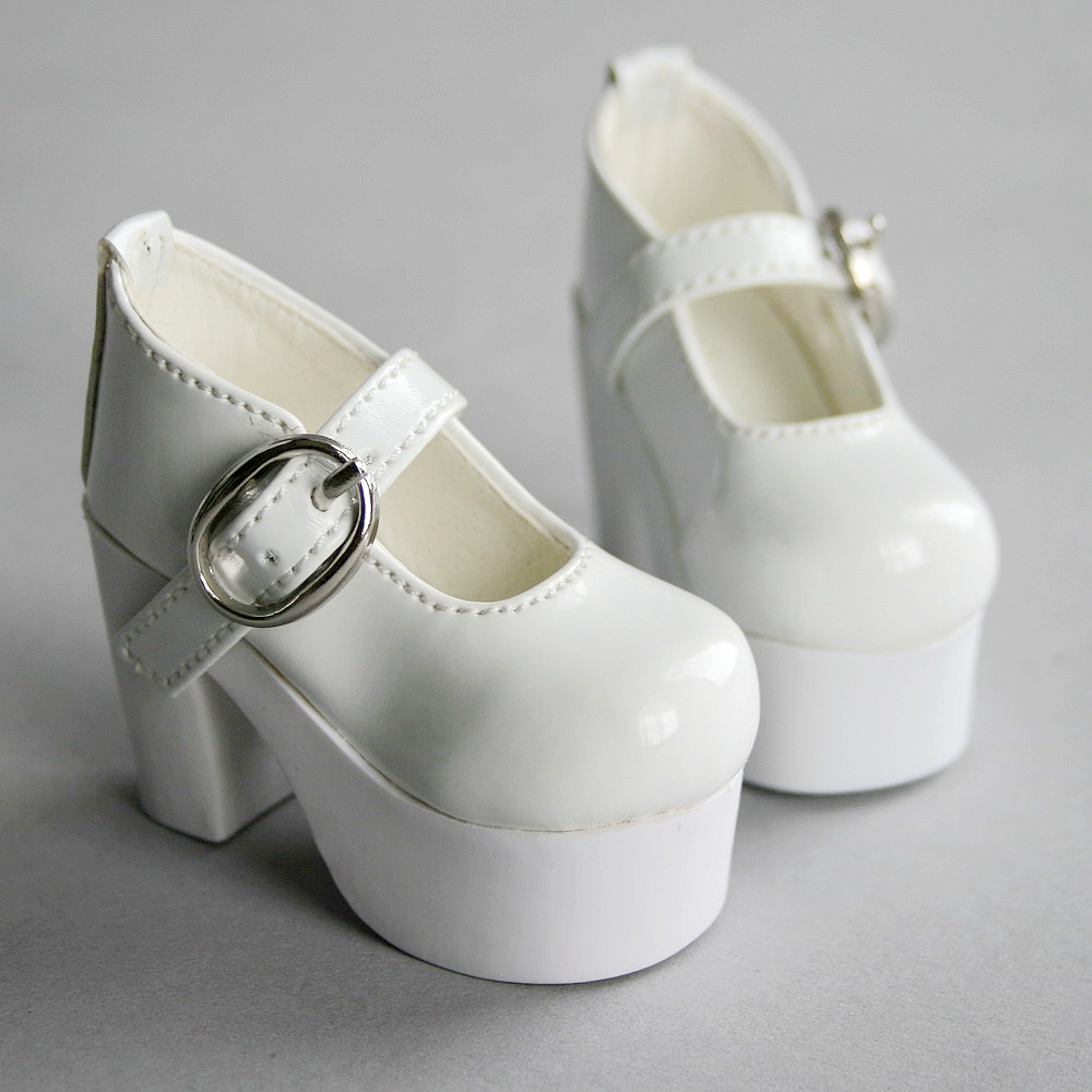 52# White And Black 1//3 SD LUTS BJD Dollfie High Heel Synthetic Leather PF