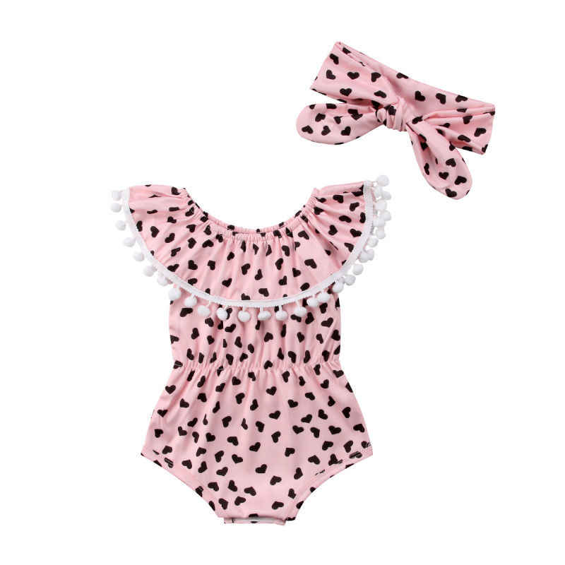 Toddler Baby Girl Heart Shape Printed Off Shoulder Tassel Rompers+Headband Summer Baby Girl Clothes 0-18 Months Infant Newborn
