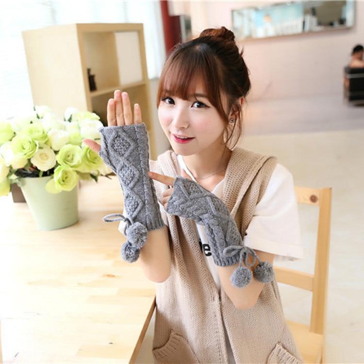 New Solid Color Fluffy Balls Knitted Women's Gloves Wrist Arm Warmer Winter Fingerless Knit Mitten