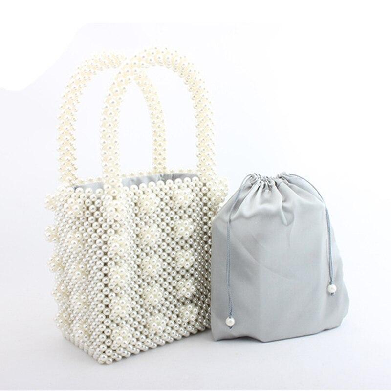 Femmes tissé à la main perle sac de plage été perlé sac à main dame top de fête poignée sac acrylique en plastique sac à main de luxe fourre-tout sac de soirée - 2