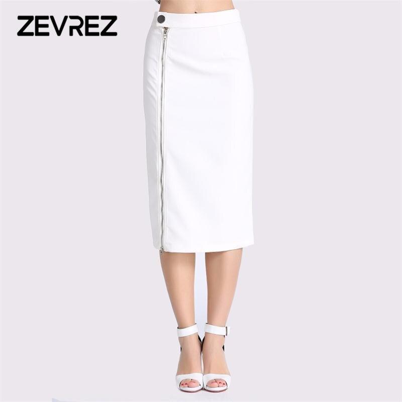 Nouveau Printemps Femmes Longue Jupe D'été Blanc Glissière Latérale Taille Haute Casual Crayon Jupe 4XL Élégant Lady Bureau Style Jupe zevrez