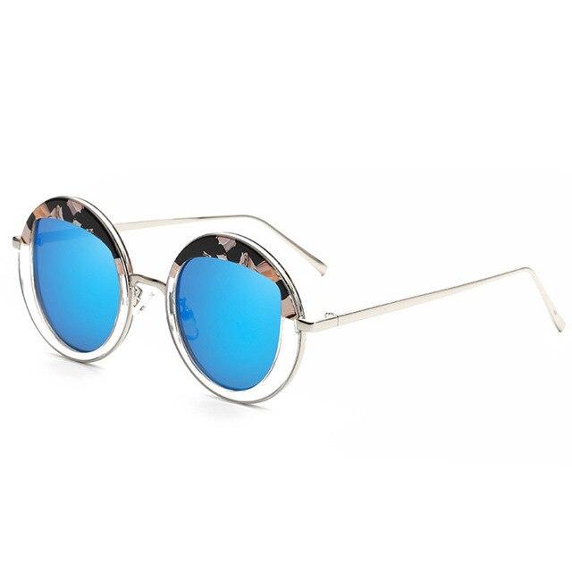 2018 new Golden grey Women Round Sunglasses Metal Frame Eyewear ...