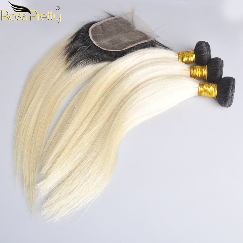 Ross Pretty Brazilian Straight Remy Human Hair Bundles With Closure Ombre 1b 613 Bundles With Lace Closure Color 1b Blonde