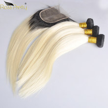 Ross Pretty Brazilian Straight Remy Human Hair Bundles With Closure Ombre 1b 613 Bundles With Lace Closure color 1b blonde(China)