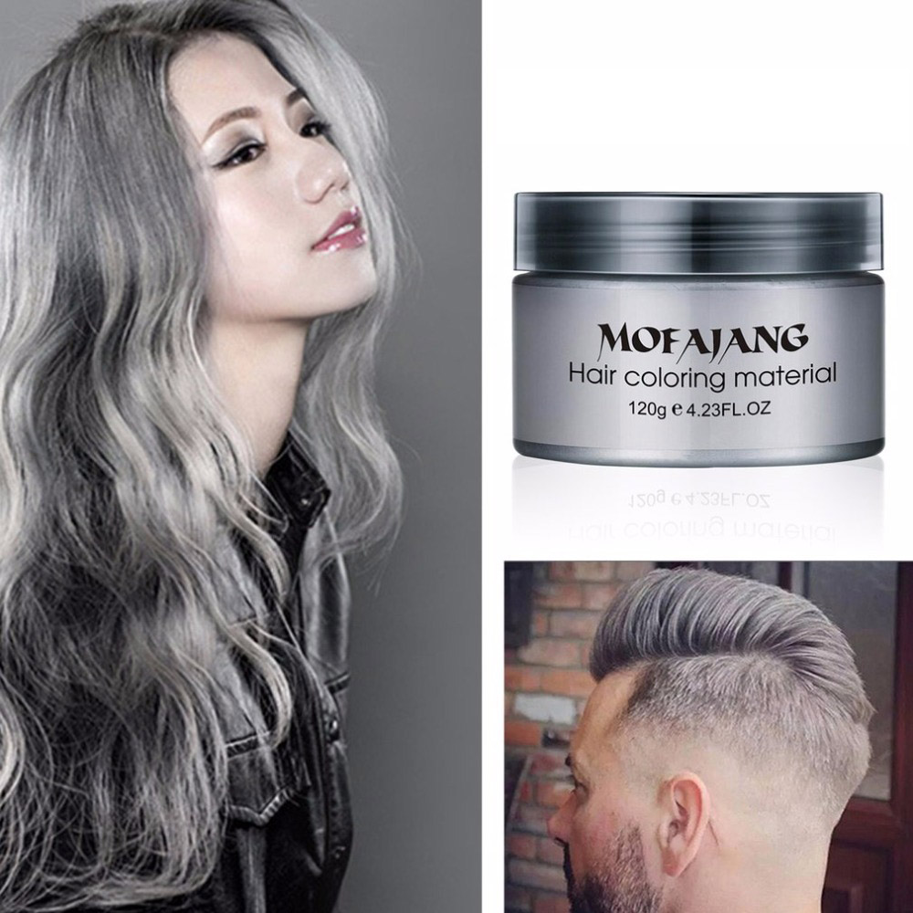 Salon Hair Styling Pomade Silver Ash Grandma Grey Hair Color Waxes Temporary Disposable Hair Dye Coloring Mud Cream Women/Men 50pcs mixed heat shrink butt terminal high quality electrical heat shrink butt wire cable crimp connector 3 color