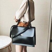 Vintage Women Briefcase Crossbody Bag PU Leather Female Handbags Retro Satchel Messenger postman bag Shoulder bag Women