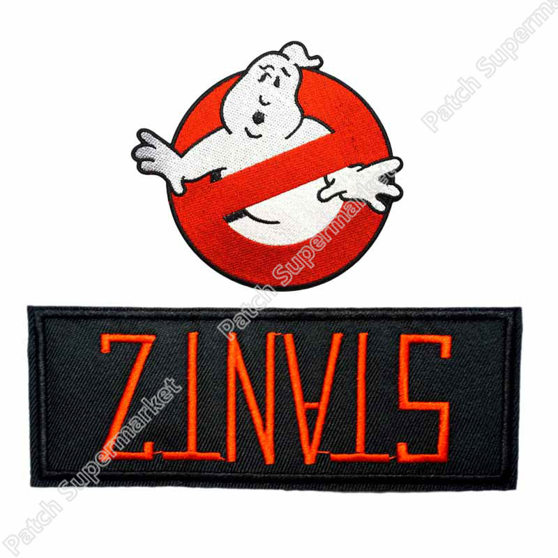 GHOSTBUSTERS NO GHOST MOVIE LOGO STANTZ NAME UNIFORM COSTUME IRON ON PATCH SET EMBLEM Halloween