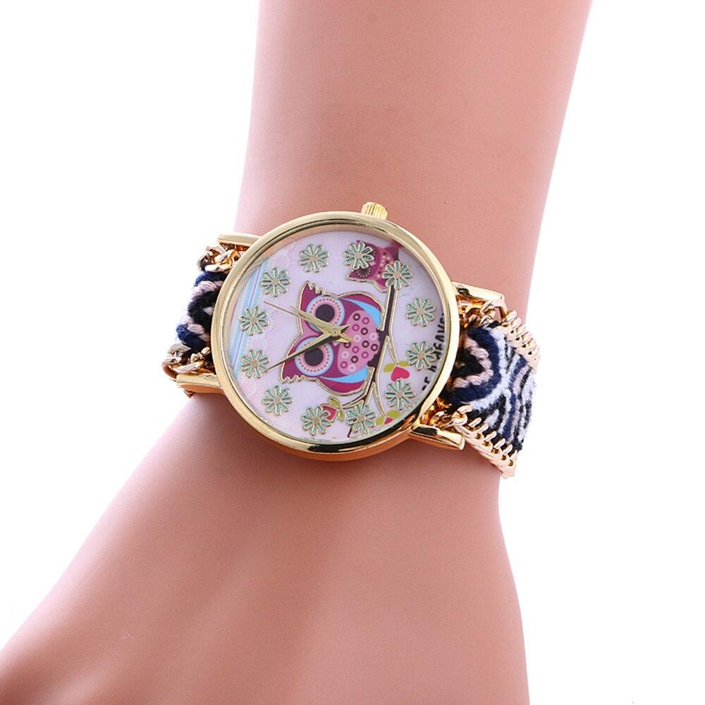 Hot Sale Modern Owl Pattern Women Watch Fashion Ladies Quartz WristWatch Braided Rope Bracelet Watch Gift Clock Zegarek Damski#W(China)