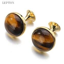Baixo-chave de luxo tigre-olho pedra abotoaduras para homens ouro cor chapeado lepton alta qualidade marca redonda pedra manguito links melhor presente