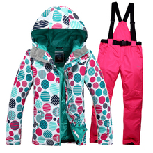Free shipping Thicker coat winter clothes Women's ski suit outdoor sports skiing jacket and pants women warm waterproof coat