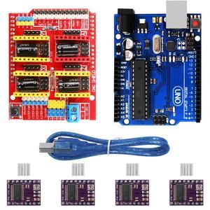 Image 2 - CNC Mở Rộng Ban V3.0 + UNO R3 Bảng + A4988 Động Cơ Bước Lái Xe Với Tản Nhiệt Cho Arduino