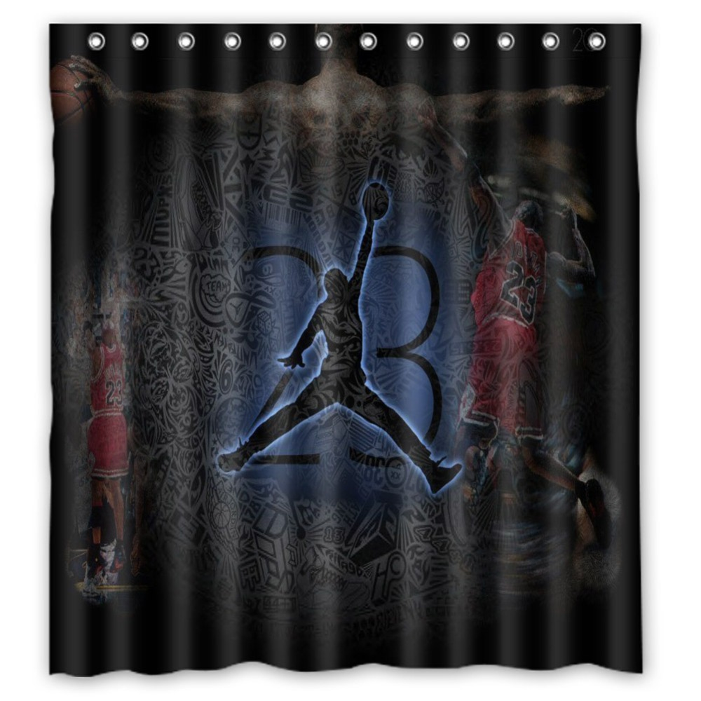 Fabric Shower Curtains Mildew Waterproof Curtains For Bathroom With Hooks 66x72 Inch michael jordan Bright Vixm Home