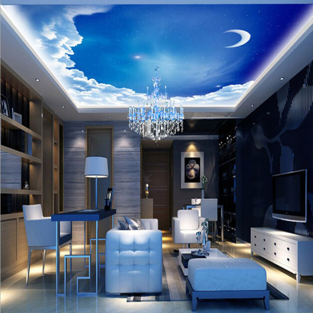 Natural Design Artesanal Céu E Nuvens Sala Wallpaper Home Decor Papel De  Parede Para Teto