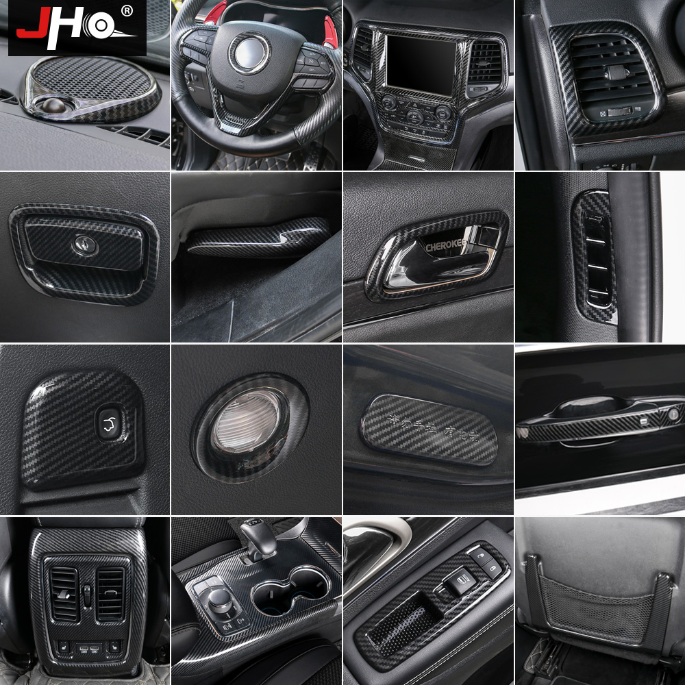 JHO ABS Carbon Fiber Navigation Door Handle Steering Wheel Frame Cover Trim For Jeep Grand Cherokee 2014-2018 2015 2016 2017 цена