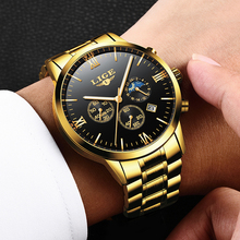 Relogio Masculino LIGE Fashion Mens Watches Top Brand Luxury Quartz Watch Men Luxury Business Gold Watch Waterproof Sport Clock lige watch men sport quartz wristwatches leather mens watches top brand luxury waterproof business watch man relogio masculino