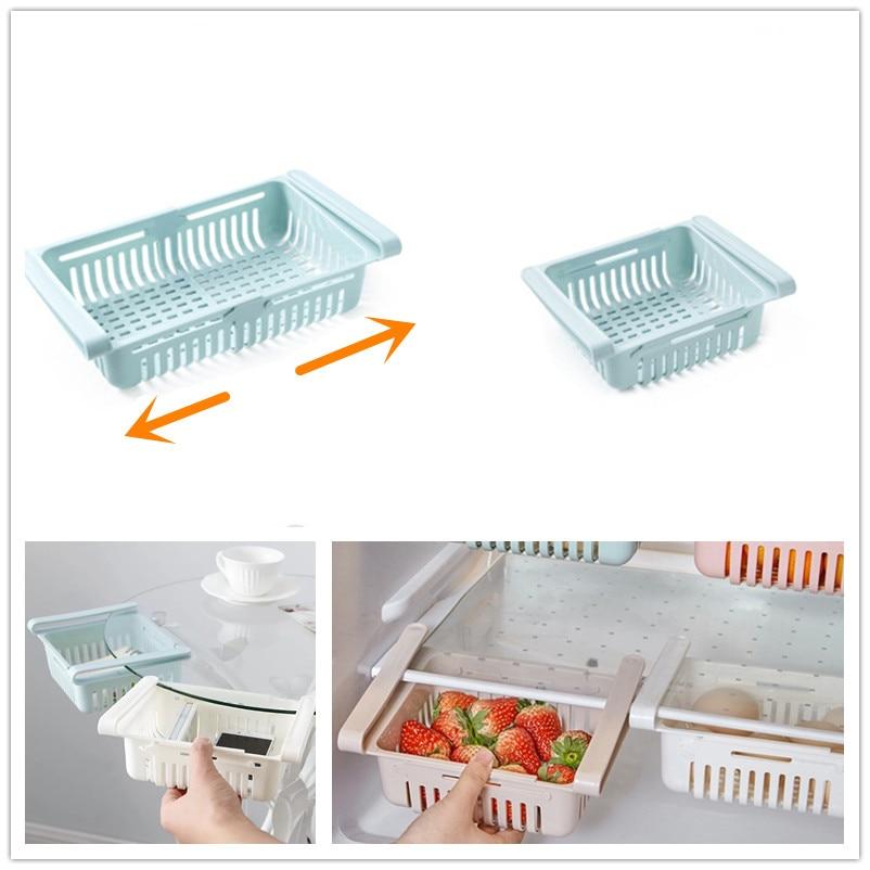 Stretchable Fridge Organizer Adjustable Storage Rack Drawer Basket Fresh Spacer Layer Refrigerator Organizer For Candy Fruit
