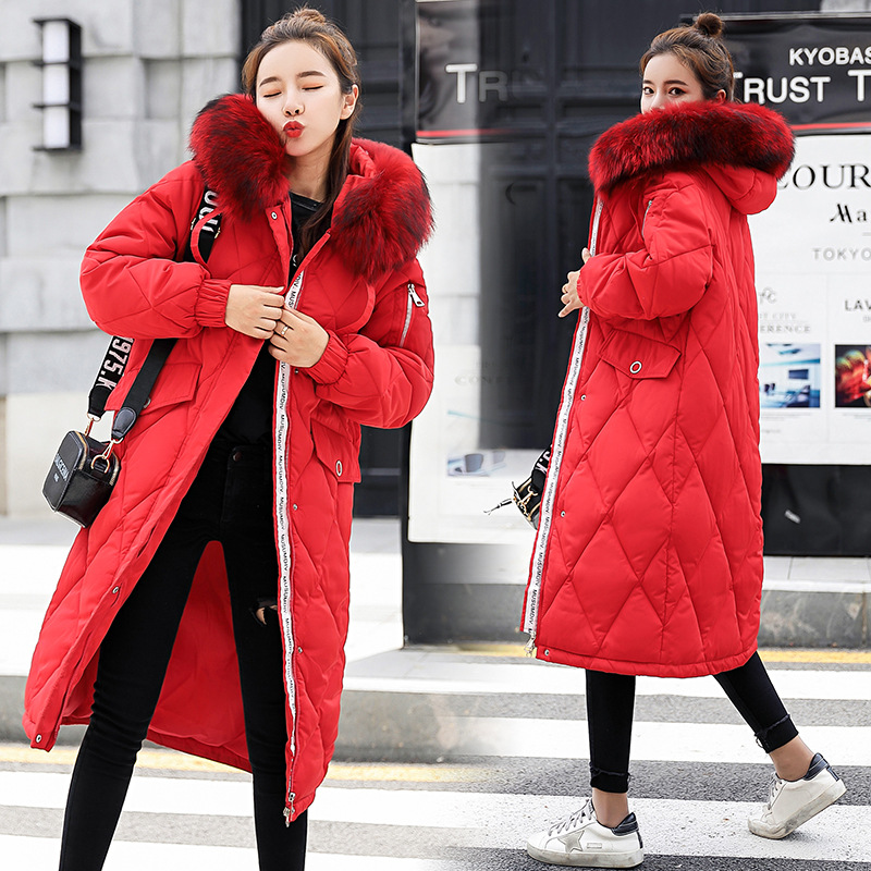 Hooded Fur Collar Winter   Down     Coat   Jacket Long Thick Warm Women Casaco Feminino Abrigos Mujer Invierno Student Wadded Parkas 92