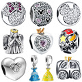 WYBEADS 925 Sterling Silver Charm Minnie Love Fairy Tale CZ Charms European Bead Fit Bracelets & Bangles DIY Accessories Jewelry