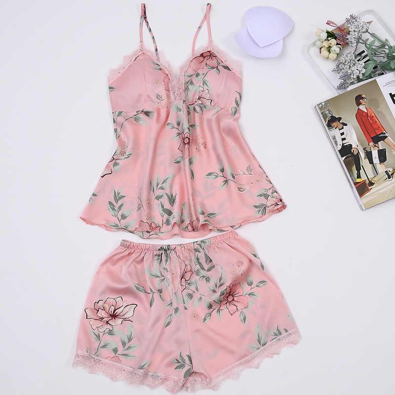 c94ea71cb3f3 ... New Spaghetti Strap Pajama Set Sexy Satin Sleepwear Embroidery Summer  Shorts Sets Pajamas Flower Silk Pyjama ...