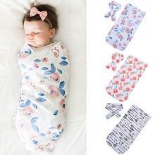 Новинка года; хлопковый Одеяла с принтами для новорожденных Для маленьких мальчиков девочек спать пеленать Обёрточная бумага+ повязка 2 шт