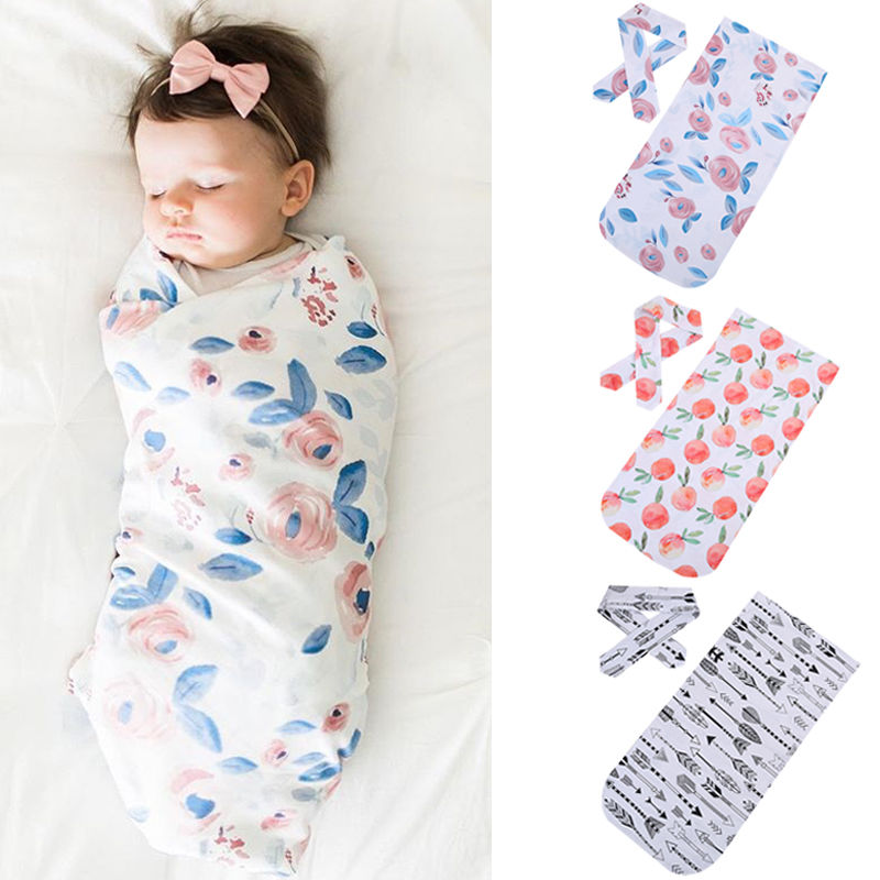 2018 New Cotton Baby Blankets Printed Newborn Infant Baby Boy Girl Sleeping Swaddle Wrap +Headband 2PCS