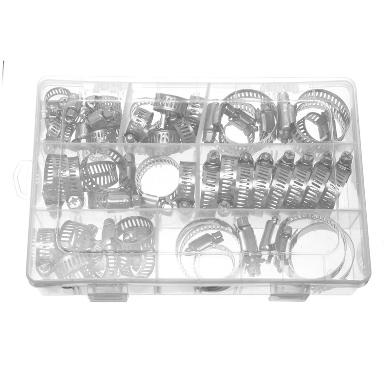 MTGATHER 50PCS Stainless Steel Hose Pipe Clips Clamps 6mm 114mm Fasteners Assorted Sizes