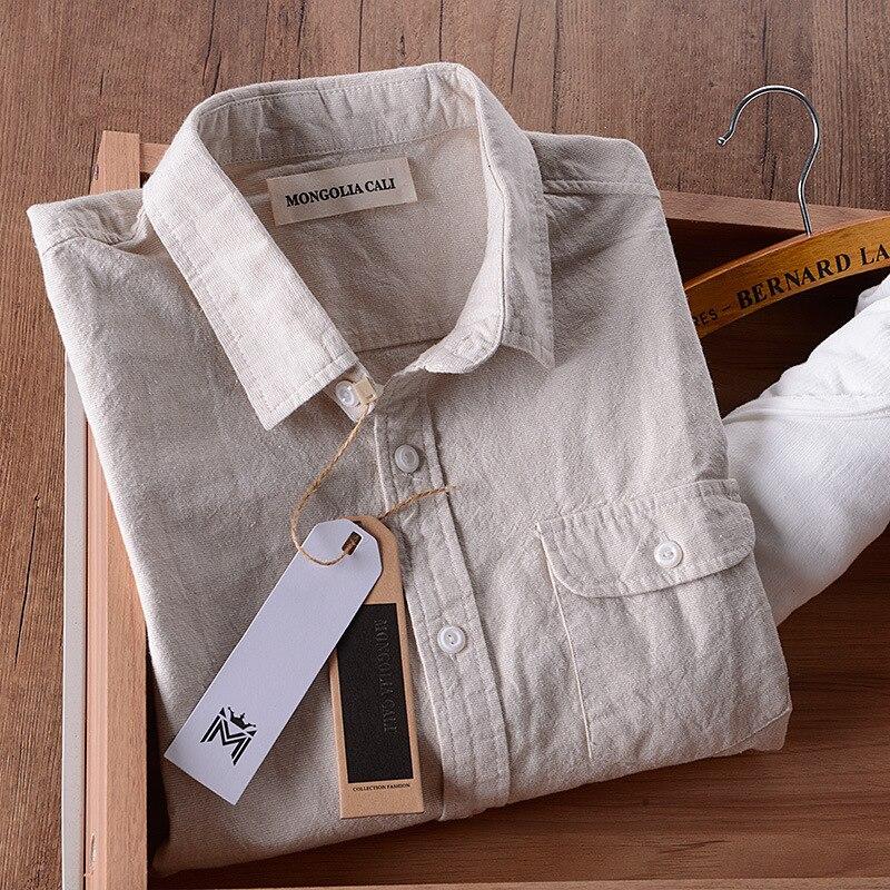 Italy Brand Linen Shirt Men Summer Cotton Shirts Men Long