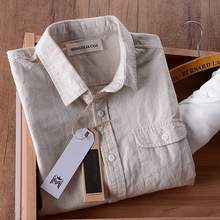 Suehaiwe Italy linen shirt men summer cotton long sleeve solid beige casual slim