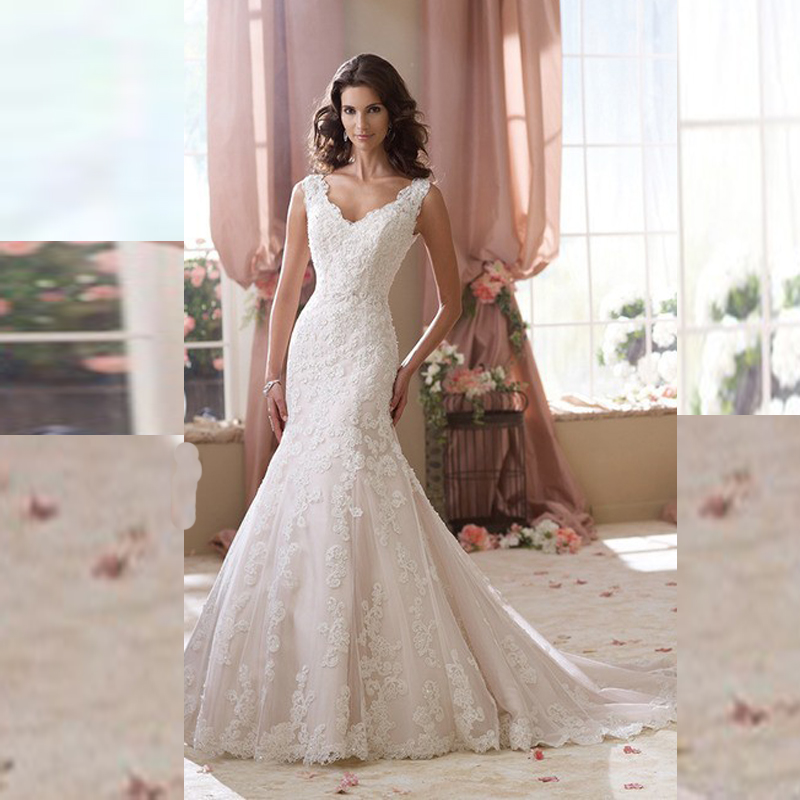 Mermaid Style Lace Wedding Gowns: New Style Mermaid Wedding Dresses 2016 Floor Length Tulle