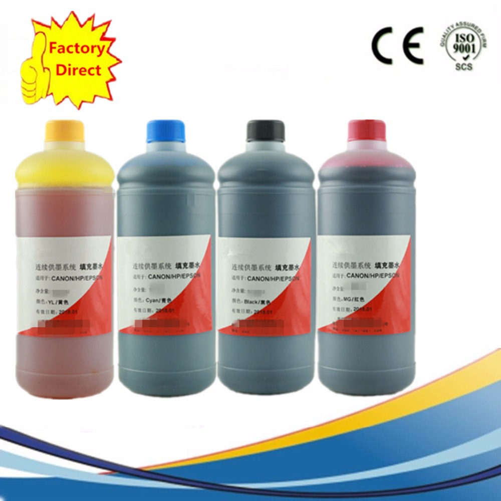1000ML x 4 Universal 4 Color Refill Dye Ink Kit For HP Printers Premium Photo