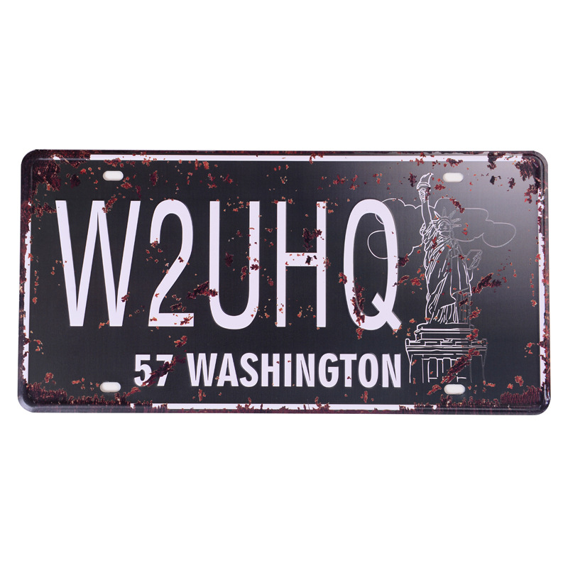 Retro license plate car number  W2UHQ 57 WASHINGTON  vintage metal tin signs garage painting plaque Sticker 15x30cm