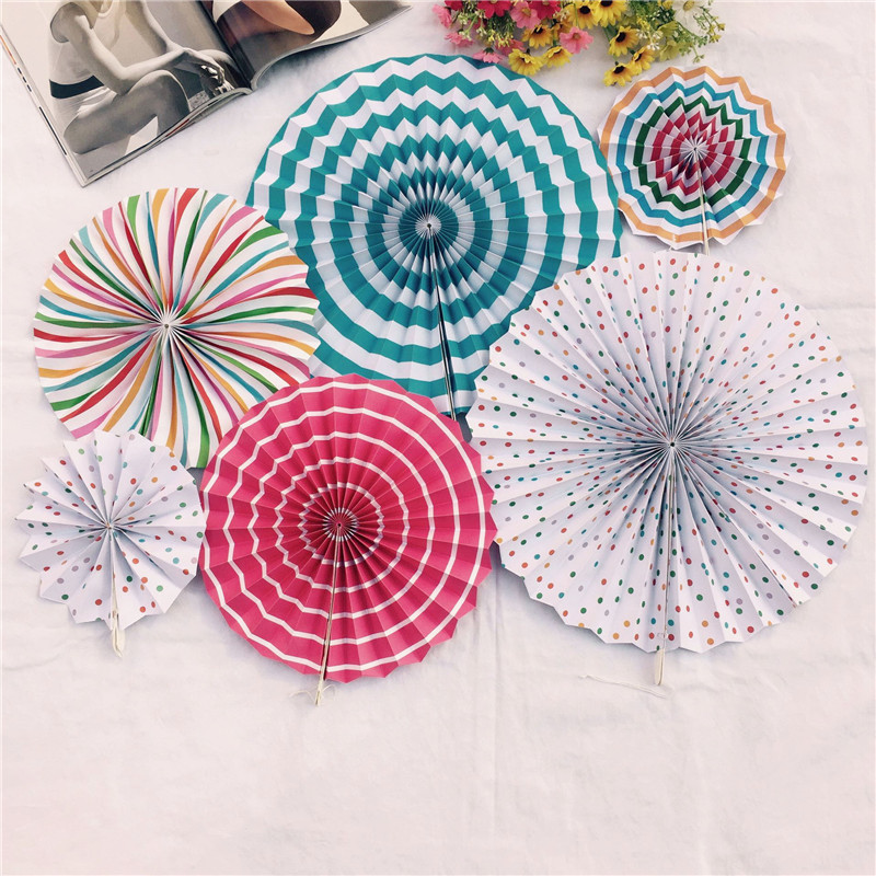 6Pcs small Tissue Paper Fans Flowers Pompom Balls Round Lanterns DIY Craft Hanging Small Flower Wedding Party Decoration