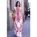 Дамы, Девушки, Женщины Dress Высокой Талией Коротким Рукавом Цветочный Цветочный Печати Тонкий О-Образным Вырезом
