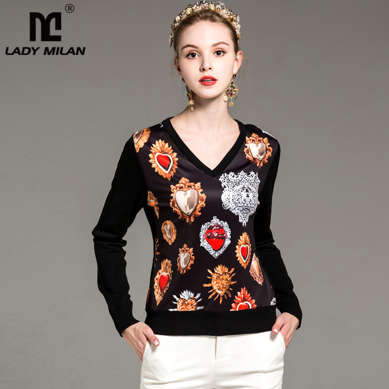 New Arrival Womens Sexy V Neck Long Sleeves Printed Knitted Patchwork Fashion Knits& Tees Blouses in 2 Colors