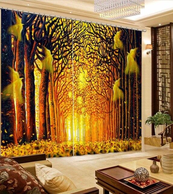 moderne gordijn voor woonkamer verduisterende slaapkamer gordijnen bos park gold gordijn stof polyester hotel gordijnen