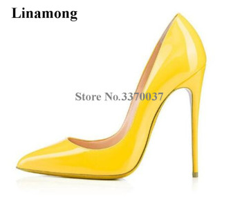 2018 New Fashion Women Classical Style Patent Leather Pumps Stiletto Heel 12cm High Heels Formal Dress Shoes Wedding Shoes