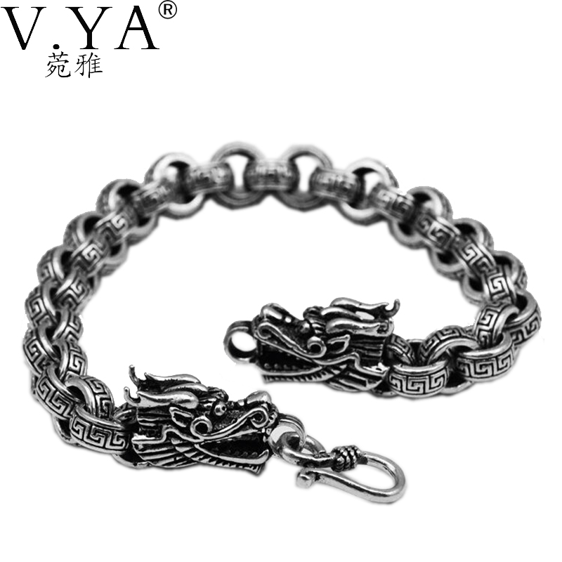 Dragon Bracelet men jewelry Wholesale  Real Pure Sterling Silver thai silver