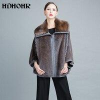 HDHOHR 2018 Knitting Mink Fur Coats For Women Lapel Bat Sleeves Winter Fashion Real Mink Fur Coats Large Size Fur Jackets