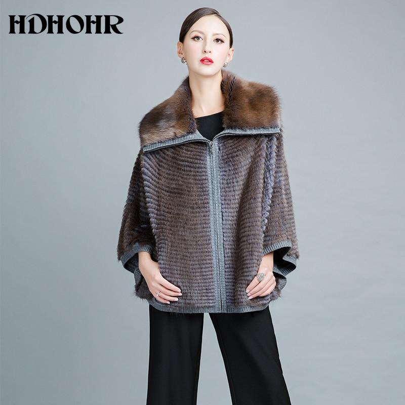 HDHOHR 2019 Плетене от норково кожено палто жени Дамски ръкави с прилепнали ръкави Висококачествена зимна мода Истински норки кожуси с голям размер яке