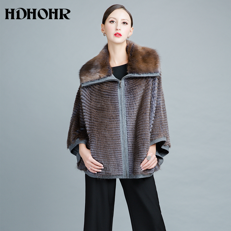 HDHOHR 2019 Knitting Mink Fur Coat Women Lapel Bat Sleeves High Quality Winter Fashion Real Mink Fur Coats Large Size Fur Jacket
