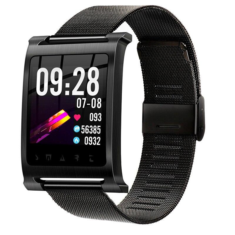 Montre intelligente pour hommes K6 acier affaires bande de maille en acier sport Fitness montre moniteur de fréquence cardiaque Bluetooth Smartwatch relogio