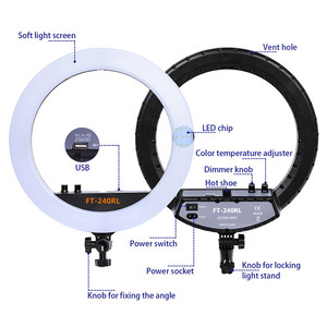 Image 2 - fosoto FT 240RL 14 inch Photographic Light 240 leds Ring Light 48W Ring Lamp With Remote For Camera Phone Video Photo studio