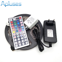 LED Strip Light 5050 RGB 5M 300 LED Flexible Strip Light Set + 44Keys Remote Controller + 12V 3A Power Adapter