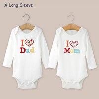 2Pcs Newborn Baby Romper 100 Cotton I Love Papa Mama Design Print Long Short Sleeve Baby