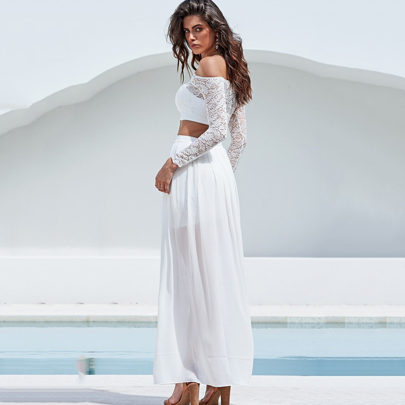 2018 New White Lace Dress Women Two Piece Set Backless Summer Maxi Dresses Sexy Vestidos Femme Split Beach Dress